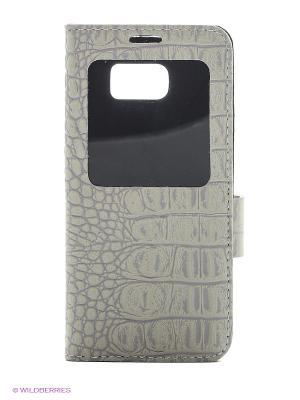 Чехол S - View на Samsung Galaxy S7 edge Dimanche. Цвет: серо-зеленый, серый