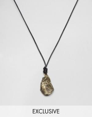 Seven London Ожерелье из черного шнурка и камня эксклюзивно для ASOS. Цвет: черный