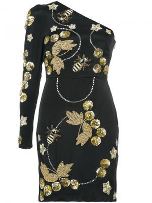 Декорированное платье на одно плечо Nicole Miller. Цвет: чёрный