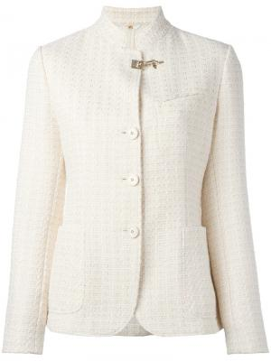 Embossed print fitted jacket Fay. Цвет: белый