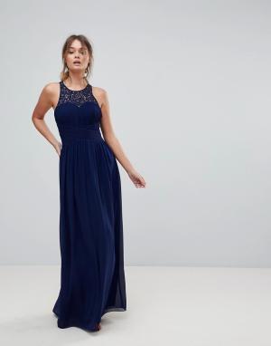 Little Mistress Декорированное длинное платье. Цвет: темно-синий