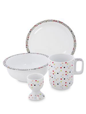 Набор посуды для завтрака  (Dots Good/TOPCHOICE) Top Choice. Цвет: белый