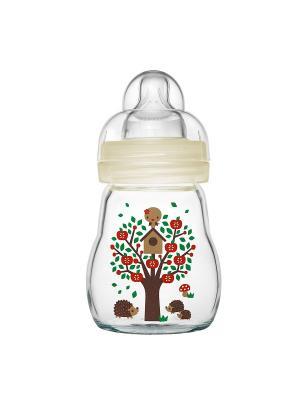 Бутылочка для кормления стеклянная, 170 мл MAM. Цвет: бежевый