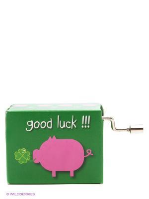 Музыкальная шкатулка Свинка с клевером FRIDOLIN. Цвет: зеленый