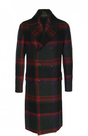 Шерстяное двубортное пальто в клетку Burberry. Цвет: темно-зеленый