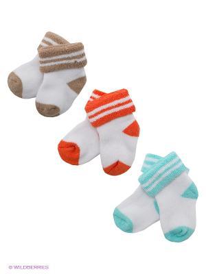 Носки, 3 пары Malerba. Цвет: белый, голубой, бежевый, оранжевый