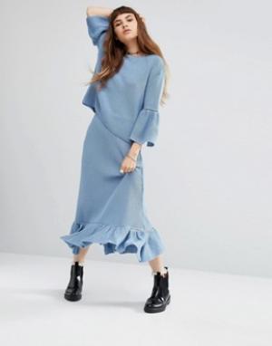 Rokoko Трикотажная юбка миди с баской по краю Co-Ord. Цвет: синий