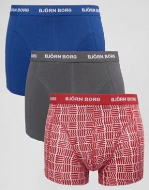 Bjorn Borg 3 пары боксеров-брифов. Цвет: красный