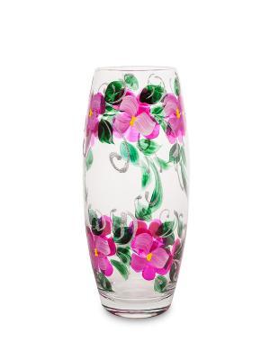 Ваза стеклянная Орхидея розовая (бочка) Art East. Цвет: прозрачный