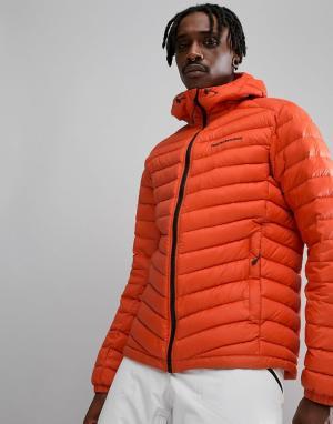 Peak Performance Оранжевая дутая куртка с капюшоном Frost. Цвет: оранжевый