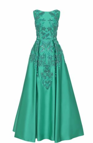 Приталенное платье-макси с декоративной отделкой Zuhair Murad. Цвет: зеленый