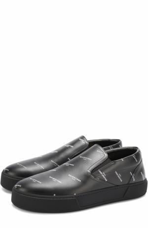 Кожаные слипоны с логотипом бренда Balenciaga. Цвет: черный
