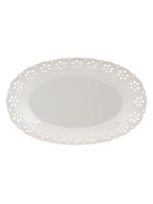 Блюдо овальное Rishelie Elff Ceramics. Цвет: белый