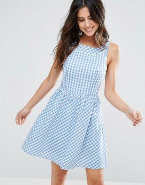 Louche Платье в клеточку Dustie. Цвет: синий
