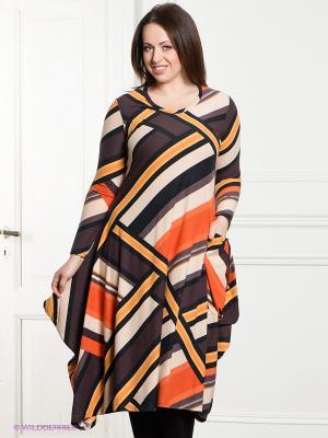 Платье МадаМ Т. Цвет: оранжевый, коричневый, бежевый