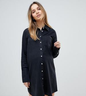 ASOS Maternity Черное джинсовое платье-рубашка с длинными манжетами DESIGN Mater. Цвет: черный