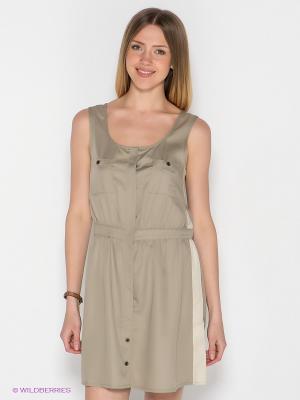 Платье MAVI. Цвет: серо-зеленый, светло-бежевый