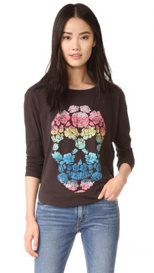 С длинным рукавом Floral Skull Chaser. Цвет: голубой