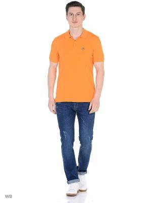 Футболка-поло United Colors of Benetton. Цвет: оранжевый, светло-коричневый