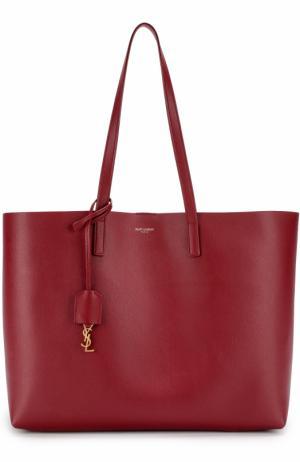 Кожаная сумка-шоппер с косметичкой Saint Laurent. Цвет: красный