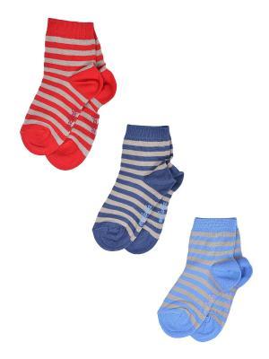 Носки Детские,комплект 3шт Malerba. Цвет: синий, голубой, красный