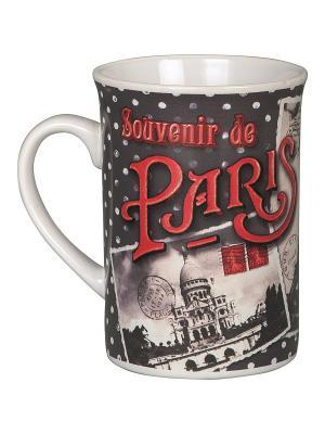 Чайная кружка керамическая  7,5,выс.10 см, 270 мл Воспоминания о Париже. Orval. Цвет: белый, черный, красный