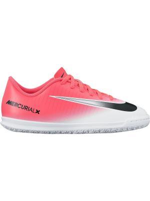 Кроссовки для зала JR MERCURIALX VORTEX III IC Nike. Цвет: розовый, белый, черный