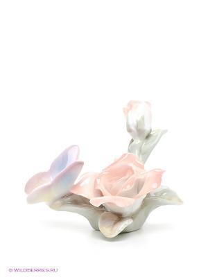 Фигурка Бабочка на розе Pavone. Цвет: кремовый, светло-зеленый, розовый