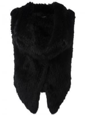 Куртка из кроличьего меха без рукавов Yves Salomon. Цвет: чёрный