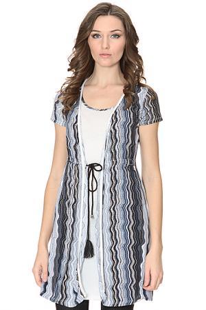 Платье с вязаной накидкой ALPHA. Цвет: синий