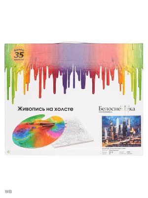 Живопись на холсте 40х50 см. Вечерние огни Москва Сити (200-AB) Белоснежка. Цвет: белый