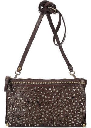 Коричневая кожаная сумка с отделкой камнями Campomaggi. Цвет: коричневый