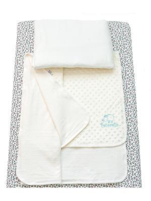Детское постельное белье Pecorella Bright Hearts. Цвет: светло-голубой, белый, бледно-розовый