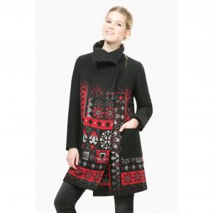 Пальто-миди с рисунком, Abrig Asha DESIGUAL. Цвет: черный