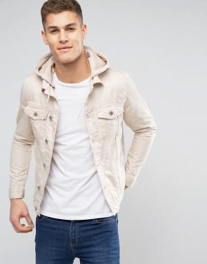 River Island Светло-бежевая джинсовая куртка с капюшоном. Цвет: белый