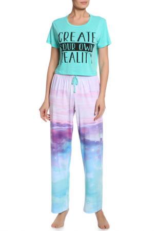 Пижама: футболка и брюки Workshop. Цвет: мульти