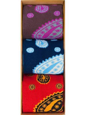 Набор Восточный базар (3 пары в коробке), дизайнерские носки SOXshop. Цвет: синий,темно-фиолетовый,красный