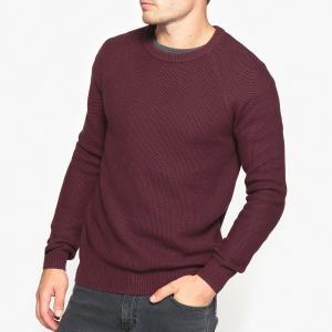 Пуловер с круглым вырезом из оригинального трикотажа La Redoute Collections. Цвет: сливовый,хаки темный