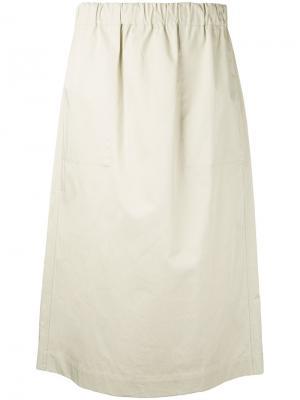 Твиловая юбка Studio Nicholson. Цвет: телесный