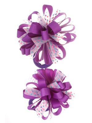 Банты из ленты на резинке в разноцветный полупрозрачный горох, фиолетовый, набор 2 шт Радужки. Цвет: фиолетовый