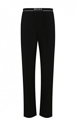 Хлопковые домашние брюки свободного кроя BOSS. Цвет: черный