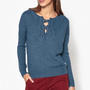 Пуловер с вырезом выемкой на шнуровке MANETTE HARRIS WILSON. Цвет: синий