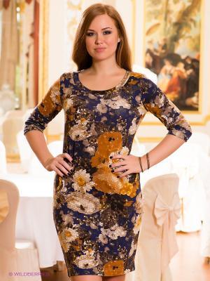 Платье МадаМ Т. Цвет: синий, коричневый, горчичный