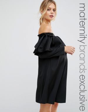 Queen Bee Атласное платье с вырезом лодочкой и бантиком. Цвет: черный