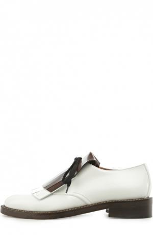 Кожаные ботинки на шнуровке с бахромой Marni. Цвет: белый
