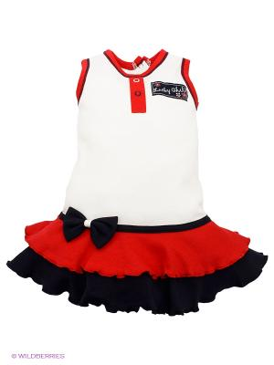Платье Lucky Child. Цвет: синий, бежевый, красный