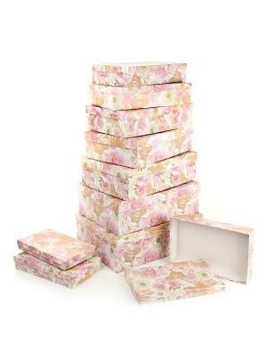 Набор из 10 картонных коробок 23*13*3-36,5*26,5*12см, Эльфийский сад VELD-CO. Цвет: светло-коричневый, розовый