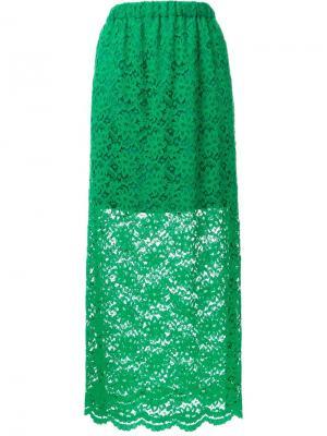 Длинная кружевная юбка Murral. Цвет: зелёный