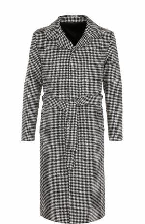 Однобортное пальто с поясом Ami. Цвет: черно-белый