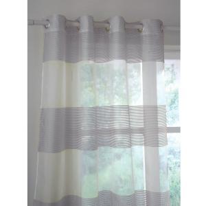 Занавеска в широкую полоску, с люверсами, Linda La Redoute Interieurs. Цвет: белый,серый,темный серо-каштановый